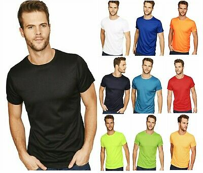 Mens Plain POLYESTER T shirt Crew Neck T-Shirts Tee Top Muscle poly sale clear b