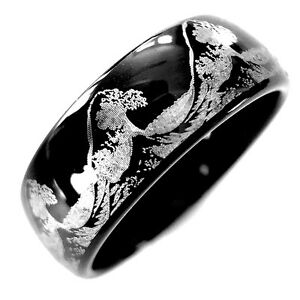 Men S Tungsten Ring Ocean Ring Wave Ring Black Tungsten Wedding