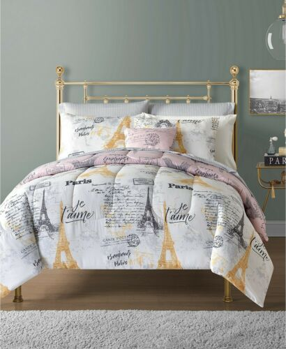Sunham 9 Piece TWIN Comforter Set Paris Je T'aime Reversible J01056