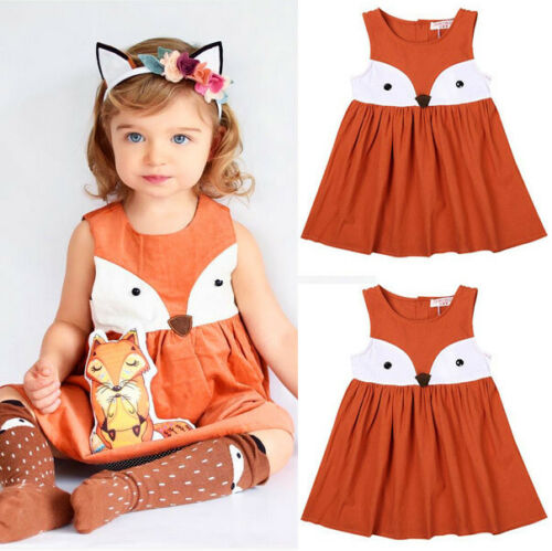 USA Baby Girls Toddler Kids Fox Princess Dress Party Wedding Tutu Dresses Beach