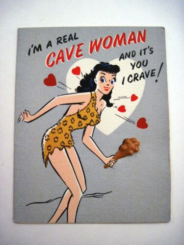 "Funny Vintage ""Greeting"" Card w Cave Woman Clubbing Her Man"