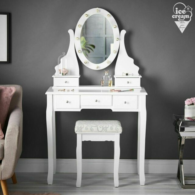 White Dressing Table With Mirror Led, Led Mirror Dressing Table And Stool