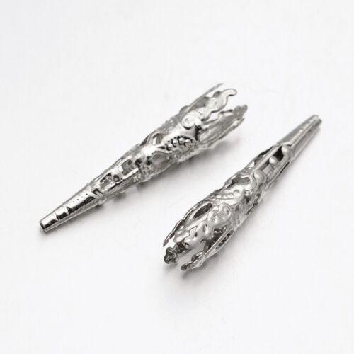 50 Long Cone Bead Caps Antiqued Silver BULK Findings Filigree 41mm Wholesale