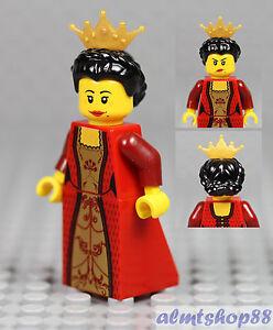 Female Minifigure Red LEGO Gold Dress /& Brown Braided Hair Princess Castle
