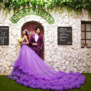 Image Is Loading Purple One Shoulder Long Tail Wedding Dresses Prom
