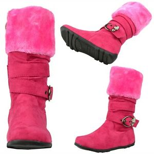 Kids-Girls-Knee-High-Boots-Faux-Fur-Collar-Rhinestone-Buckle-Strap-Fuchsia