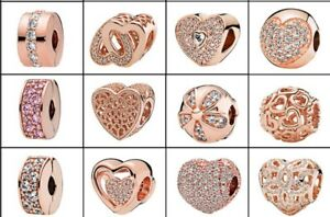 2018New European Rose Gold CZ Charm Beads Fit 925 Necklace Bracelet Chain