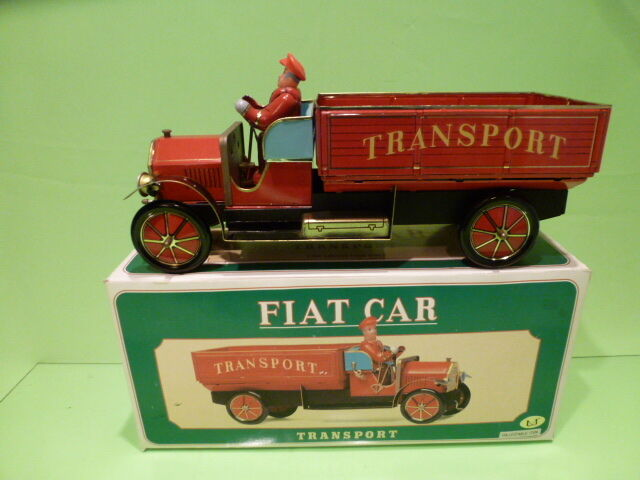 TIN PLATE TOYS BLECH FIAT CAR TRANSPORT TRUCK - rosso - NEAR MINT IN BOX