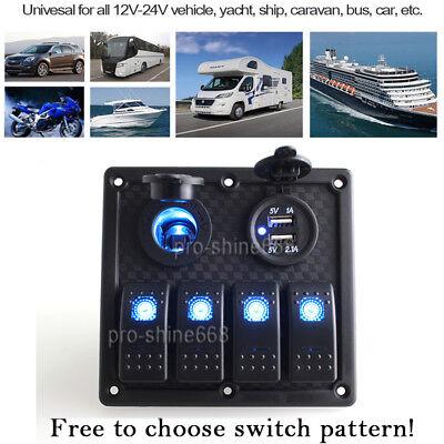 4 Gang Waterproof Rocker Automotive Switch Panel USB Charger LED Car Marine Boat