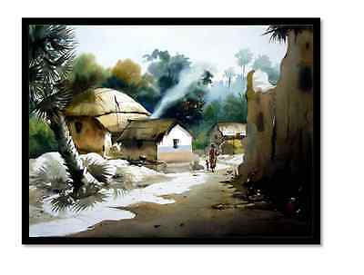 India's Village Artistic Frameless/MATT Framed Painting(optional) by Dreamzdecor