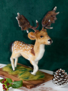 Stag-One-of-A-Kind-Needle-Felted-Art-Fallow-Deer-Sculpture