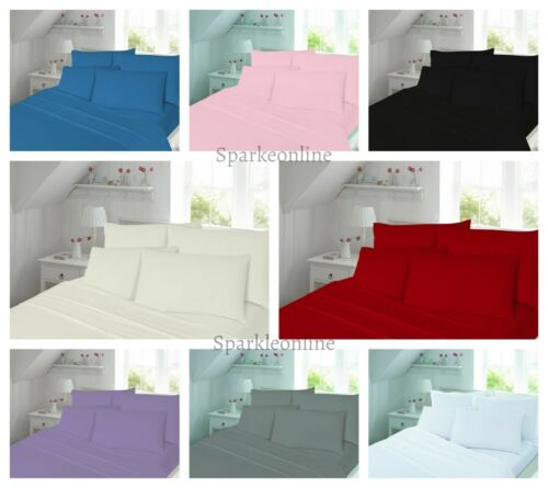 Flat Bed Sheets Thermal Flannelette 100/% Brushed Cotton Fitted Pillow Cases