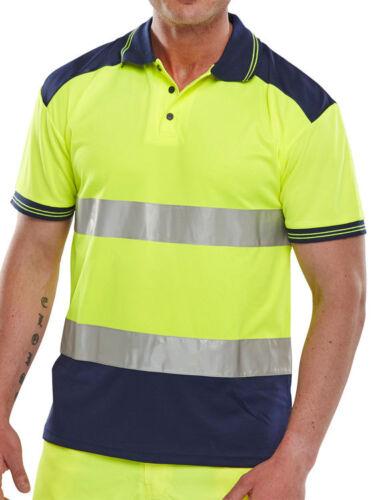 Navy Hi Vis Polo Shirt BSeen Two Tone Saturn Yellow