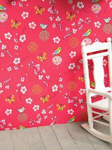 Voegelchen-Kinderzimmer-TAPETE-kraeftig-pupurrot-ideal-f-PUPPENSTUBE-Bogen30x53cm