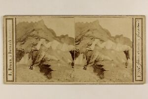 Suisse Ghiacciaio Supérieur Grindelwald Foto Braun Stereo Vintage Albumina c1865