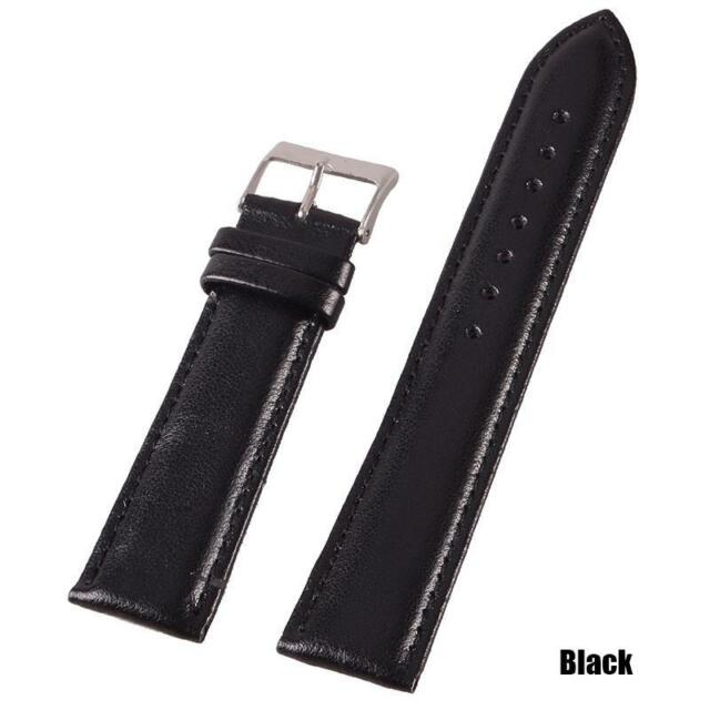Durable 18/20/22mm Genuine Leather Wrist Watch Strap Stainless Steel Pin Buckle