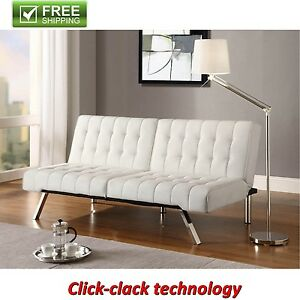 Image Is Loading Convertible Futon White Faux Leather Sofa Bed Modern