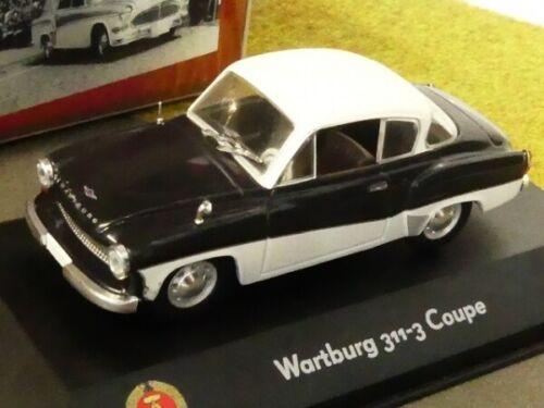 1//43 atlas RDA auto colección Wartburg 311-3 coupé negro blanco 7230 027
