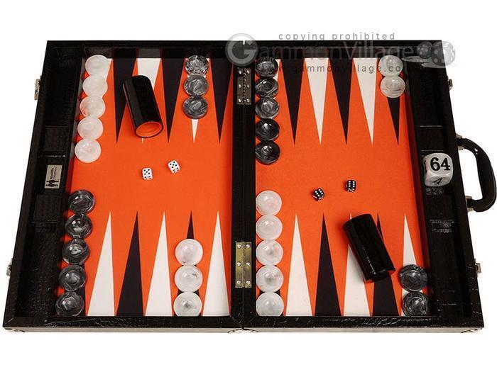 Conjunto de torneo de backgammon Wycliffe Brothers 21 - Negro Croco Board, campo de Naranja