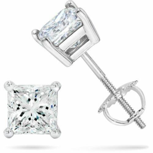 3 Ct Blanc Sapphire Princess vis backsstud Boucles d/'oreilles en argent sterling//wgp