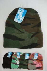 Bulk lot 24 Assorted Camoflauge Camo Winter Knit Toboggan Beanie Hats 4 Colors