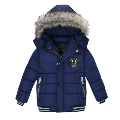 Toddler Kids Baby Boys Girls Winter Thick Warm Coat Hooded Padded Jacket Clothes