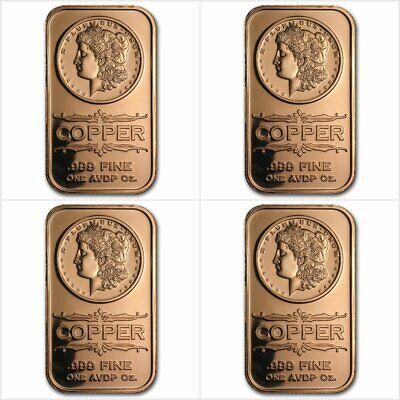 Bullion 4 X Morgan Dollar 1 Oz Avdp 999 Copper Bar Impartial 4 X 1 Once Avdp Cuivre Pur 999 Coins & Paper Money