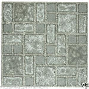 60 X Vinyl Floor Tiles Self Adhesive Bathroom Kitchen BNIB Grey Mosaic