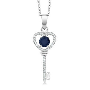 1-04-Ct-Blue-Sapphire-925-Sterling-Silver-Heart-Key-Pendant-Necklace