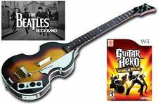 NEW Nintendo Wii Beatles Rock Band Wireless Hofner Bass & Guitar Hero World Tour