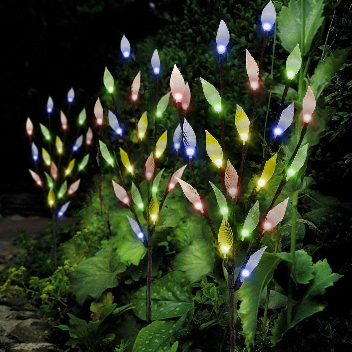 3x Branch Tree Leaf Flower Light Outdoor Garden Lawn Solar Powered 60 LED Multi