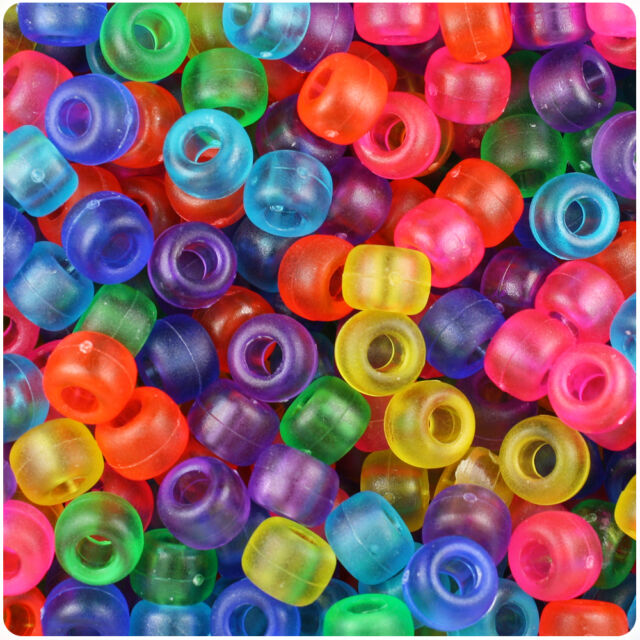 500 Mixed Colors Glow 9x6mm Barrel Pony Beads Made in the USA by The Beadery