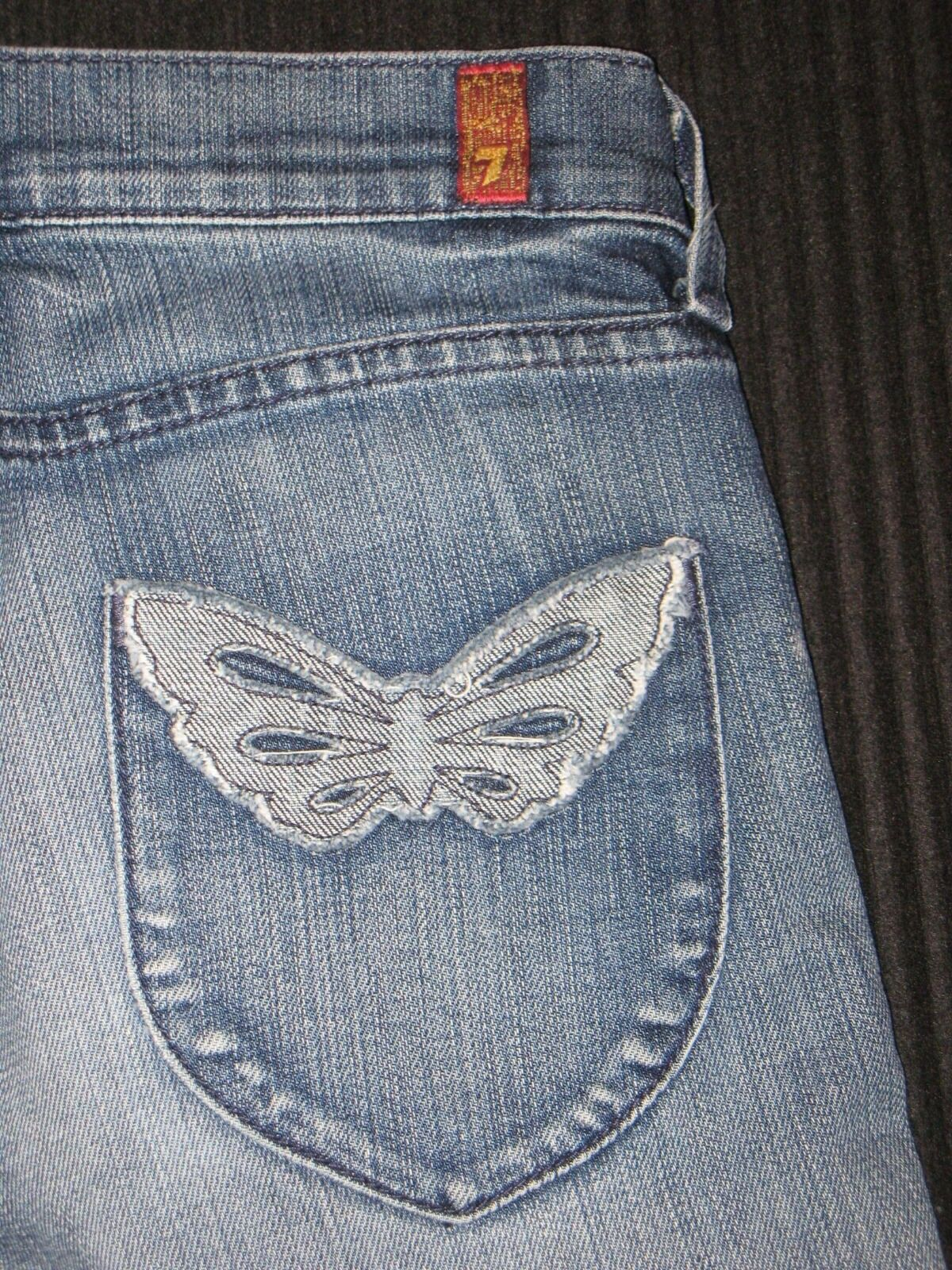 7 For All Mankind Straight Jeans Sz 25 Nolita Butterfly Pocs Distressed Wash
