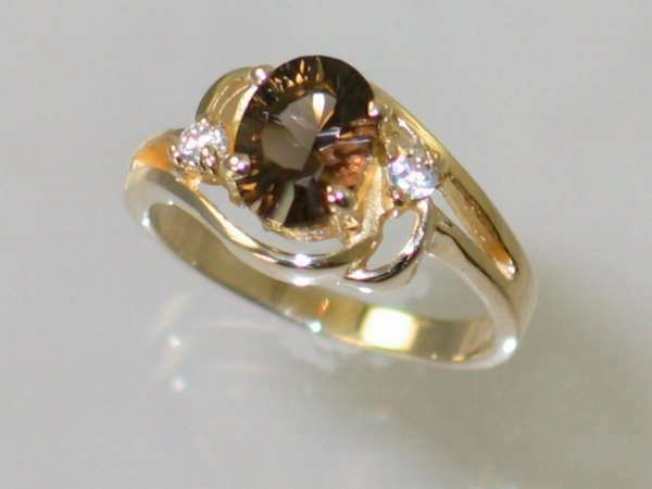 Smoky Quartz, Solid 10KY or 14KY gold Ladies Ring, R176-Handmade