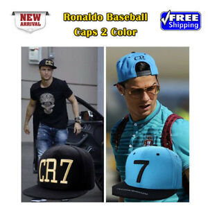 d424f32d2 Details about CR7 Black & Blue Baseball Caps Cristiano Ronaldo Sports  Snapback Football hat