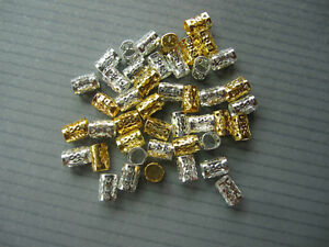 100 Mini (5MM) Gold and Silver Dreadlock Beads Adjustable Hair Braid Cuff Clip