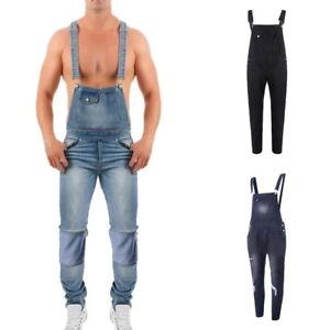 Men/'s Denim Loose Overalls Jumpsuits Dungarees Pants Slim Skinny Work Trouser LO