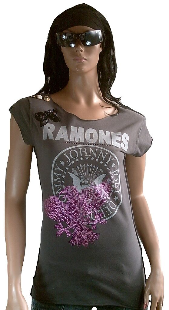 Cool Strass ELEGANTLY WAISTED by AMPLIFIED RAMONES Hey Ho Let's Go Star Shirt L