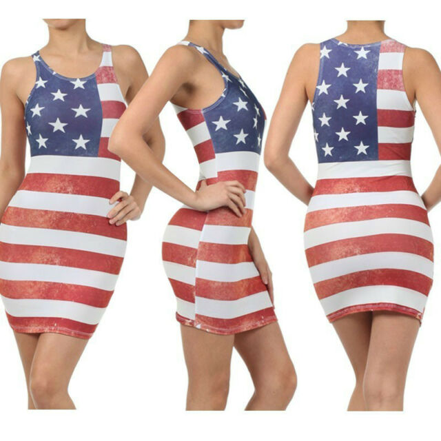 Sexy Bodycon Weathered American Flag 4th Of July Stars n Stripes Tank Dress USA