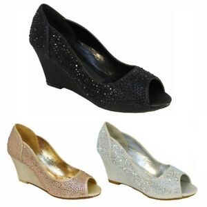 02a603fbf8c Ladies Diamante Sparkly Wedge Mid Heel Peep Toe Evening Party Shoes ...