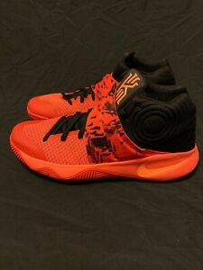 low priced 78d3e 31ee2 Image is loading Nike-Kyrie-2-Inferno-Bright-Crimson-Orange-Black-