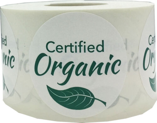 500 Labels on a Roll 1.5 Inches Round Green Certified Organic Stickers