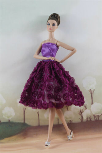 Fashion  Lovely Purple Flower Party Dress Evening Mini Skirt  For 11 inch Doll