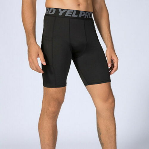 Mens Quick Dry Compression Base Layer Shorts Bottoms with Pocket Briefs