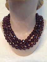 Heidi Daus Burgundy Bead 3 -strand Necklace
