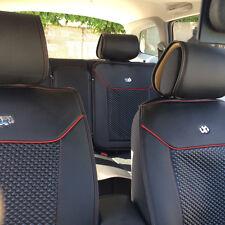 Circle Cool 31001 Seat Cover Set Black+Red Line Leather Custom Fit Mid Sedan