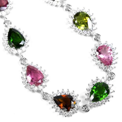 environ 19.05 cm Natural Multi Color Tourmaline /& Blanc Zircone cubique Argent Sterling 925 Bracelet en argent 7.5 in