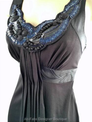 Bnwt 36 Karen perline Uk 8 Nuovo in Nero Taglia vestito di Blu drappeggiato 38 con jersey Millen 10 q8aBwPxX8