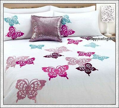 280TC White Pink Burgundy Aqua Butterfly Embroidery QUEEN QUILT DOONA COVER SET