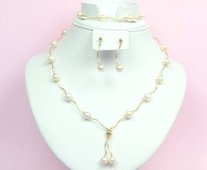 14k-Yellow-Gold-Natural-White-Pearls-3pcs-Women-Set-Necklace-Bracelet-Earrings